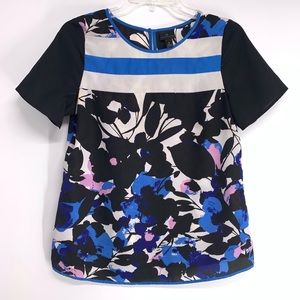 Colorblock Short Sleeve Floral Print Top small